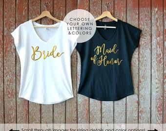 Bride Shirt, Maid of Honor V-Neck Shirts with Dolman Sleeves, Bridal Party Shirt, I Do Crew, Bridesmaid Shirt, Bachelorette Party Shirts