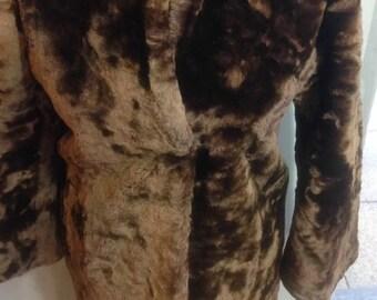 Womens Vintage Fur Winter Coat Chocolate brown soft sheepskin