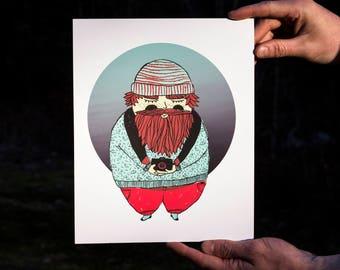 Illustration - little photographer - numbered silkscreen printing