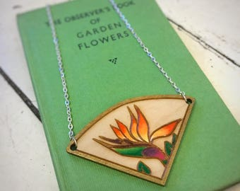 Bird of Paradise Necklace, wooden laser cut