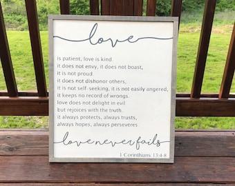 1 Corinthians 13:4-8 Framed Wood Sign