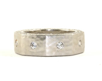 Vintage Hexagon Shape CZ Inlay Band Ring 925 Sterling Silver RG 1628
