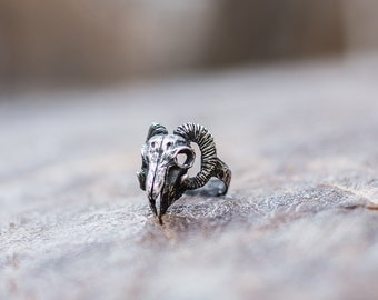 Ram Skull Ring Handmade Sterling Silver Animal Ring Unique Handcrafted Jewelry