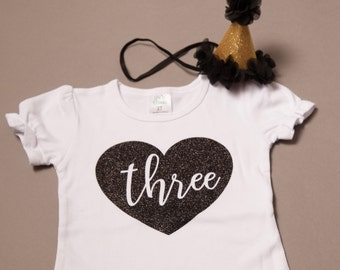 Third birthday shirt {with} party hat, three year old birthday, 3rd birthday shirt