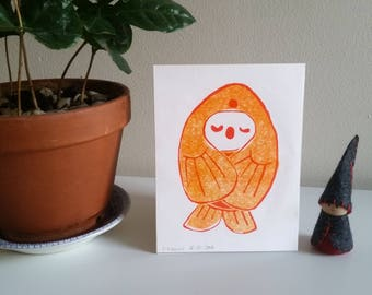 Small Fish : two colour lino print