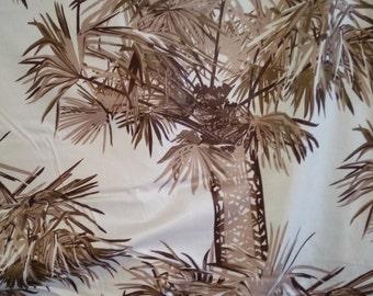 Vintage palm tree fabric - browns on cream