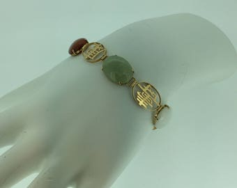 "14kt Yellow Gold Lady's Scarab 7"" Bracelet  with 5 Cabachon Gemstones"