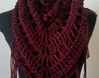 Burgundy scarf, burgandy Crocheted Shawl, triangle shawl, triangle scarf