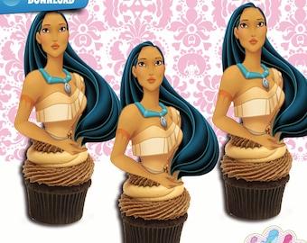 Pocahontas Cupcake Toppers,  Pocahontas Birthday Party  Printables