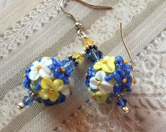 Lavender, White and Yellow Flower/Floral Earrings, Lampwork Jewelry, SRA Lampwork Earrings, SRA Lampwork Jewelry, Mothers Day Gift