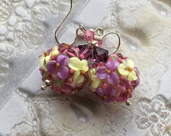 Mothers Day Gift, Pale Mint, Lavender & Blue Flower/Floral Earrings, Lampwork Jewelry, Valentines Day Gift, Mothers Day, Gift For Her