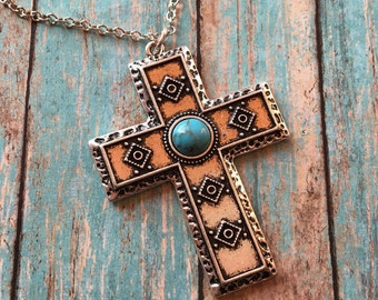 Southwest Jewelry, Rustic Pendant. Southwest Pendant, Southwest Necklace, Southwestern Cross