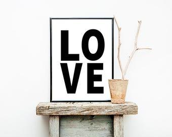 Love, Love Print, Printable Wall Art, Black and White, Gallery Wall, Modern Wall Decor, Digital File, Monochrome Room Decor,  Love Sign