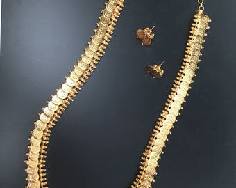 Simi Series - 22 ct gold plated temple laxmi coin kasu mala necklace