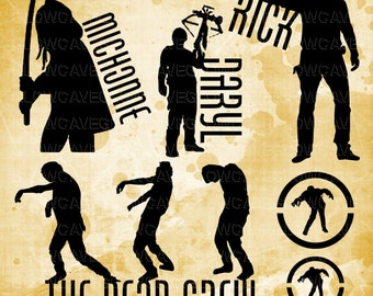 Walking Dead Silhouettes svg file, Walking Dead Clip art, Walking Dead svg, INSTANT DOWNLOAD - svg, png, dxf, eps, jpg