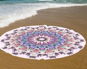 Pink peacock feathers sweat absorbent Roundie Cotton Beach towel, Yoga roundie mat, meditation roundie mat, Roundie beach spread