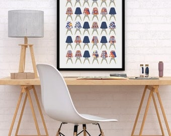 Eames Stacking Chairs - Mid Century Modern Classic - Digital Download Poster Print