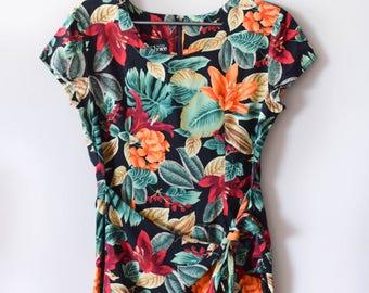 Vintage Tropical Tie Front Dress