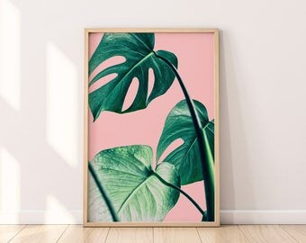 Palm Leaf Print, Tropical Leaf Print, Digital Wall Art, Monstera Print, Palm Art Print, Summer Prints, Digital Download, Modern Wall Print