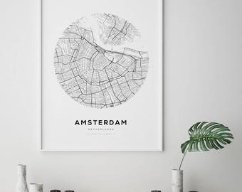 Amsterdam Map Poster, Street Map Print, Digital Wall Art, Holland Print, Printable Wall Art, Amsterdam Map Print, Amsterdam, Netherlands