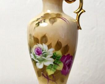 Vintage Lefton Pitcher, Vintage Lefton Vase, Lefton Bud Vase, Brown Floral Bud Vase