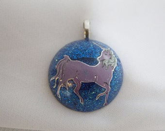 Midnight - Unicorn Resin Pendant
