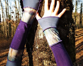 Patchwork of cotton and stretch jersey blue purple mitts!