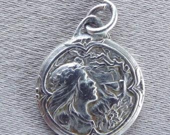 Art Nouveau French Vintage Silverplate Medal Pendant Charm - Spring Medal - Art Nouveau Woman Pendant