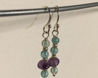 Amethyst and Apatite Sterling Earrings