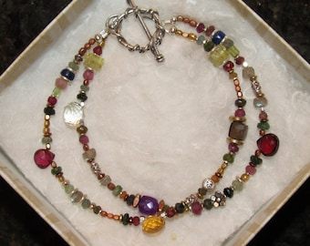 Sparkling Gemstone Beaded Bracelet with Artisan Cast Sterling Silver toggle clasp.