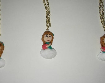 Sea Shell Chibi Girl Polymer Clay Charm