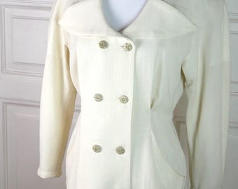 Italian Vintage Ivory Wool Coat, Women's Double-Breasted Antique White Tailored Coat, European Vintage Tailored Coat: Size 10 US, Size 14 UK