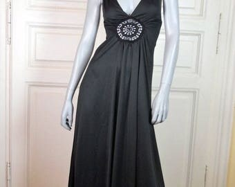 British Vintage Black Maxi Dress, Sleeveless Long Black Disco Dress, 1970s Dance Dress, Low Cut Black Dress: Size 6 US, Size 10 UK