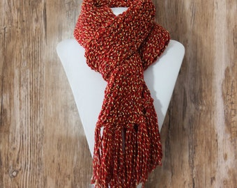 Knitted Con Amor - Garnet and Gold Multicolor Hand Knitted Scarf - Knit Scarf, Women's Scarf, Fringed Scarf, Handmade, OOAK (128)
