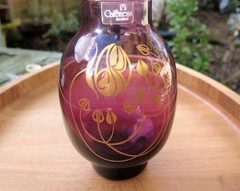 Caithness Glass Vase - Art Nouveau Glass Vase - Purple Glass Vase - Scottish Vase - Caithness Glass - Colin Terris - Vintage Scottish Vase
