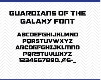 Guardians of the Galaxy Font (SVG, EPS, PNG, dfx) Cut Files for use with Silhouette, Cricut, & other Cutting Machines