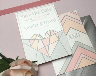 Geometric Romantic 'Amelia' Save the Date Wedding Stationery Suite - SAMPLE