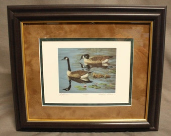 "Canadian Geese and Goslings Lithograph ""Little Ones"" by Gerald Lubech Numbered & Signed # 223/950"