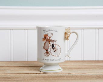 Hollie Hobbie Friendship Mug - Vintage Coffee Mug - Holly Hobbie on Tricycle - Friendship makes the rough road smooth