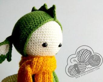 Dirk dragon, snowman crochet made with Lalylala pattern