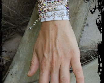 Bohemian soft Grey Bracelet, Gypsy, Upcycled, Sequences, Chain Fastner, Gold Thread, Cuff, Beads,