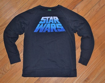 """SALE Vintage Star Wars movie """"May the Force Be With You"""", stars galaxy black sweatshirt, size xsmall/small"""
