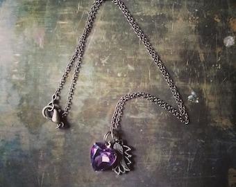 Charm Necklace // Amethyst Heart Rhinestone Jewel, Lotus Flower Charm, Bronze Angel Wing // Charm Collectors // Spiritual Guidance Jewelry