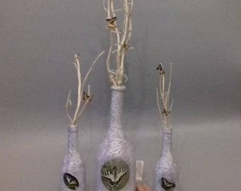 Grey Butterfly Bottle and Twigs set
