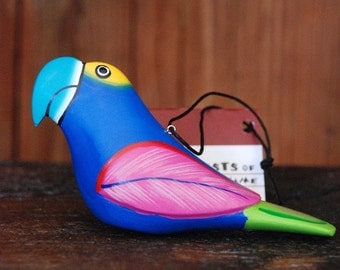 Blue Macaw Balsa Wood Ornament
