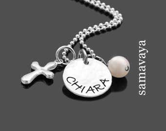 Confirmation communion necklace SHINY CROSS 925 Silver jewelry with engraved name tag