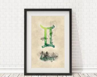 Gemini zodiac sign, Watercolor Gemini, Gemini poster, Gemini zodiac art, PRINTABLE art, Zodiac wall art, Zodiac decor, Zodiac watercolor art