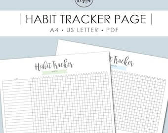 Habit Tracker Printable, Monthly Habits, Daily Habits, Goal Planner, Printables, Productivity, Printable Pages, Instant Download, Goals, A4
