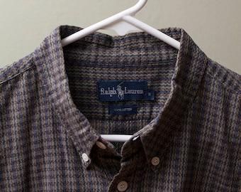 Ralph Lauren Woven Pattern Short-Sleeve Button-Down Medium