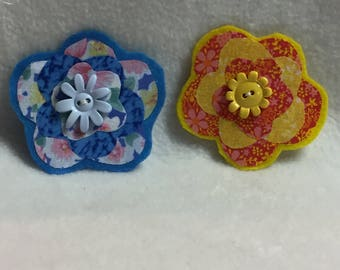 Flower Hair Clips - Set of 2 (#001.7)